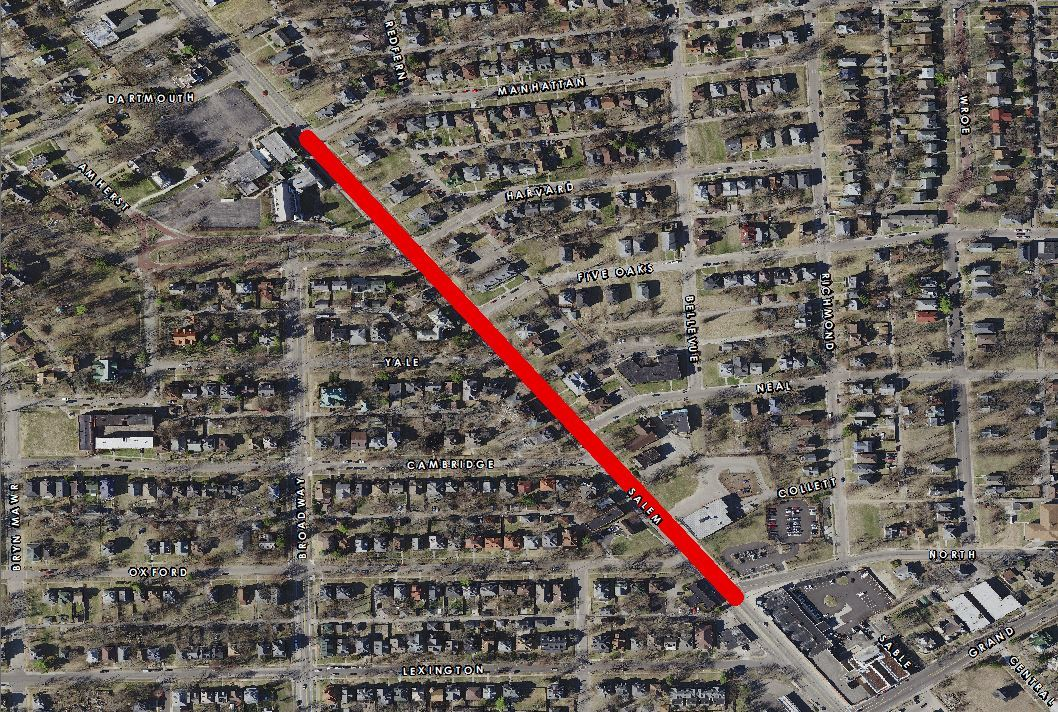 Map of Salem Ave reconstruction phase 1