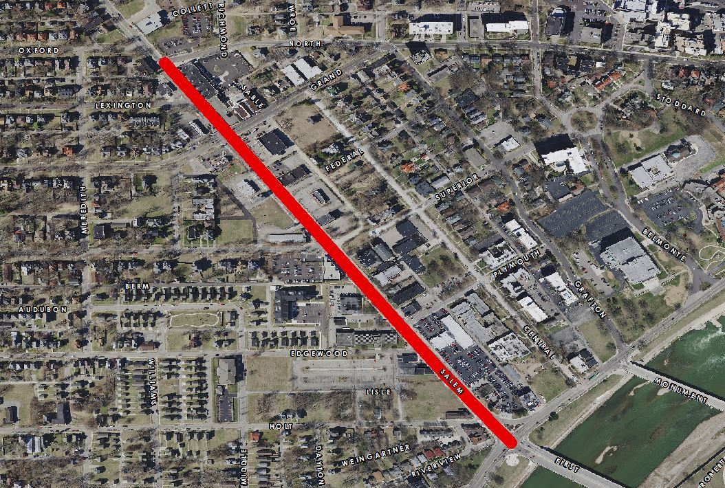Map of Salem Ave reconstruction phase 2