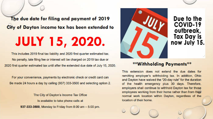 Dayton Income Tax Extended Flier